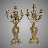 Grandest Antique French Bronze  Five Light Candelabras…A Divine Pair