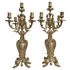 "Antique French Bronze  Five Light Candelabras   ""PAIR"""