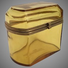 Lovely Amber Crystal Casket Hinged Box with Gilt Mounts ~ A GREAT Color!