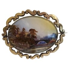 Antique  Eglomise Picture Broach in Awesome Pinchbeck Ornate Frame ~ Wear or Display in Vitrine of Tiny Treasures
