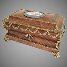 19C Kingwood Bronze Mounted Casket Hinged Box ~ Magnificent Bronze Mounts & Exquisite Porcelain Sevres Plaque