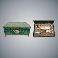 Fabulous Malachite Palais Royal Necessaire Etui  ~ Eight Wonderful Pieces ~  A BEAUTY!