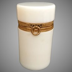 Antique French Bulle de Savon Opaline Hinged Box  ~ Divine Wreath Ribbon Gilt Mount ~ A BEAUTY!