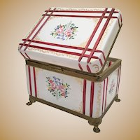Magnificent and Massive French White Cut to Cranberry Paw Foot Casket Box