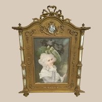 Antique French Bronze Mother of Pearl Frame   ~ Hand painted