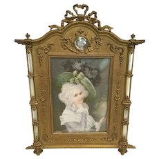 "EXQUISITE  Antique French Bronze Mother of Pearl Frame ""LOVELY MINIATURE"""
