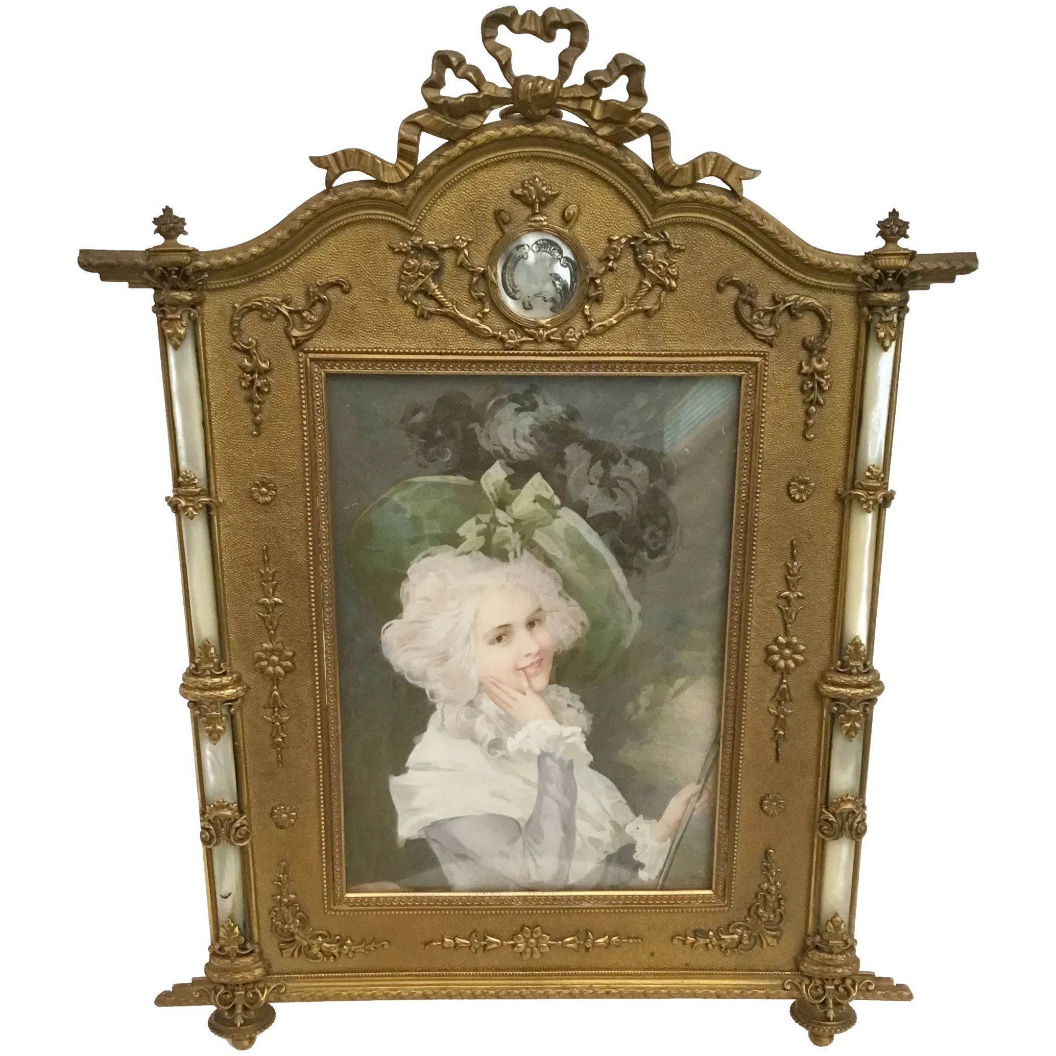 Antique French Bronze Mother Of Pearl