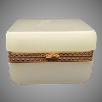 French White Opaline Square Hinged Box  ~  Ornate Mounts and Lift Clasp ~ Stunning Shape and Size