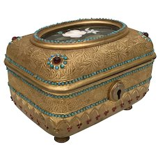 Antique Jeweled Bronze Pietra Dura Casket Hinged Box ~ Faux Garnets and Turquoise ~ Absolutely   Stunning