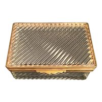 """Antique French Crystal Casket Hinged Box ~ Very Fine Crystal with   1/2"""" Gilt Mounts and Lift Clasp ~ A SWEET BOX"""