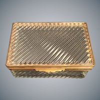 "Antique French Crystal Casket Hinged Box ~ Very Fine Crystal with   1/2"" Gilt Mounts and Lift Clasp ~ A SWEET BOX"