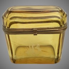 Antique Bohemian Amber Glass  Hinged Box with Etched Ship~Smooth Gilt Metal Mounts  and S Clasp ~  WONDERFUL Amber Glass!