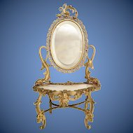 Antique French Miniature Bronze Onyx Dresser Vanity ~ Twin Dolphins ~ Superior Quality ~