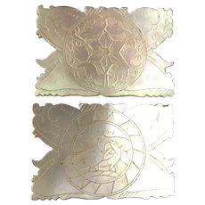 """PAIR Antique Hand Carved Mother of Pearl Thread Winders """" BIRDS""""  ~ They are Gorgeous!"""