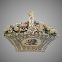 Antique Coalport  Coalbrookdale Porcelain Basket ~ The Grandest Porcelain Masterpiece ~ A Woven Porcelain Basket Filled with Delightful Porcelain Flowers