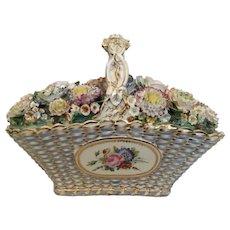 Antique Coalport  Coalbrookdale Porcelain Basket ~ The Grandest Porcelain Masterpiece ~ A Woven Porcelain Basket Filled with Delightful Porcelain Flowers