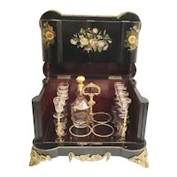 Charming  Antique Ebony Cave à Liqueur Tantalus ~ Awesome Flowers ~ Beautiful Dore BronzeC