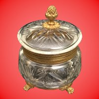 Antique  French Cut Crystal Casket Hinged Box  ~ Pineapple Final and Fabulous Footed Base
