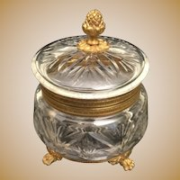 Antique  French Cut Crystal Casket Hinged Box ~ Pineapple Final and Fabulous Footed Base~ AS IS!