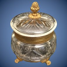 VERY FINE French Cut Crystal Casket Hinged Box ~ Pineapple Final and Fabulous Footed Base~ AS IS!