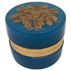 Antique French Blue Opaline Hinged Box  ~ EXQUISITE GILDING