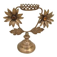 "Antique French Bronze Jeweled Stand   ""Two 2 ¼"" Flowers """
