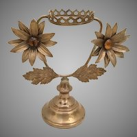 """Antique French Bronze Jeweled Stand   """"Two 2 ¼"""" Flowers """""""