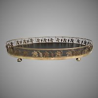 "BIG 23 ½"" Vintage Estate Brass Table Tray Plateau ~ An Oval Table Tray Plateau W Grape Vine Decorated Gallery ~ BEAUTIFUL"