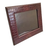"Beautiful 14"" Faux Alligator Crocodile Table Top Picture Frame ~ A Wonderful Frame Ready to Display Your Prized Photo"