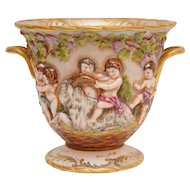 Beautiful Capodimonte Porcelain Double Handle Cachepot   PUTTI'S & GOATS""