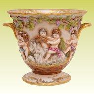 "Beautiful Capodimonte Porcelain Double Handle Cachepot   PUTTI'S & GOATS"""