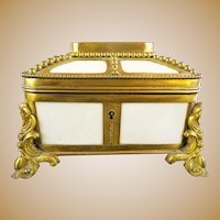Antique  French Dome Top Bronze &  Faux Ivory Casket Hinged Box