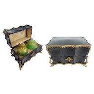 """Antique Grand Tour Ebonized Wood Scent Casket 'BIG GREEN OPALINE BOTTLES"""""""