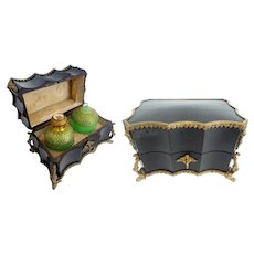 Antique Grand Tour Ebonized Wood Scent Casket 'BIG GREEN OPALINE BOTTLES""