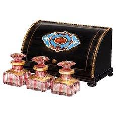 "Palais Royal  Baccarat Scent Casket 1860 French Ebonized Wood Box ""THREE BACCARAT CRANBERRY BOTTLES"""
