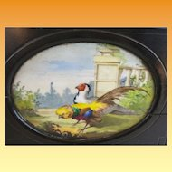 "Antique French Tantalus Ebonized Wood  Box ""Hand painted Porcelain  ROOSTER PLAQUES"""