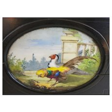 """Antique French Tantalus Ebonized Wood  Box """"Hand painted Porcelain  ROOSTER PLAQUES"""""""