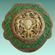 Italian Silver Green Enamel Compact with Amazing Hand Craved Faux Ivory Putti Plaque