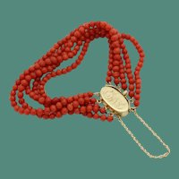 """Antique 14KARAT & Natural Red Coral Bracelet  """"5 Strands of NATURAL RED CORAL"""""""