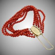 """VF Antique 14KARAT & Natural Red Coral Bracelet  """"5 Strands of NATURAL RED CORAL"""""""