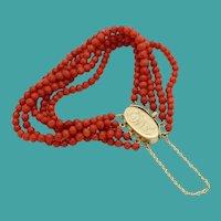 """Very Fine Antique 14KARAT & Natural Red Coral Bracelet  """"5 Strands of NATURAL RED CORAL"""""""