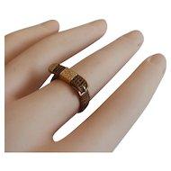 """19C 14KARAT Yellow Gold Mourning Hair Ring """"BELT & BUCKLE"""" Beautiful Weave"""