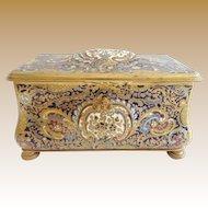 """8"""" Antique France Bronze Champlevé Casket Hinged Box """" A Champlevé MASTERPIECE"""""""