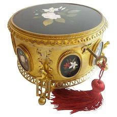 """French Pietra Dura Gilt Bronze Ormolu Casket Hinged Box """"SEVEN PLAQUES"""""""