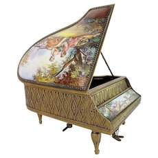 "Magnificent Antique Austrian Enamel Musical Piano Harpsichord ""Artist Signed"""