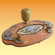 Antique Grandest Champlevé &  Red Jasper Oval Inkwell Stand