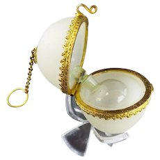 Palais Royal White Opaline Chatelaine Scent Egg Box.