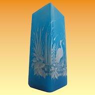 """Antique French Blue Opaline Vase """"Magnificent White Bird"""""""