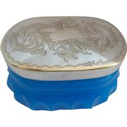 """Stunning Antique French Blue Opaline Box """"ENGRAVED SILVER TOP"""""""