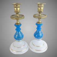 Antique French Opaline Bronze Candlesticks  ~ Beautiful Blue & White Opaline with The Prefect Touch of Gilding